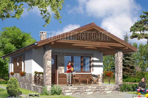 Деревенский дом с просторным крыльцом