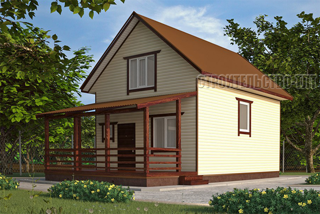 Дачный дом 5 на 3 недорого с террасой, проект, стоимость